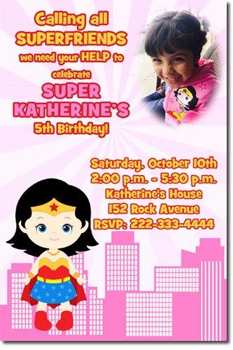 Wonder Woman Invitation Template Awesome Wonder Woman Custom Birthday Invitations Design Line