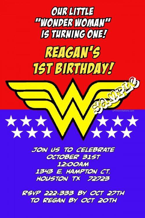 Wonder Woman Invitation Template Elegant Wonder Woman Custom Birthday Invitations Design Line