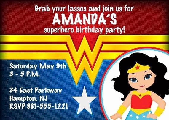 Wonder Woman Invitation Template Fresh Wonder Woman theme Personalized Printable by