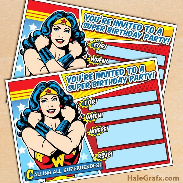 Wonder Woman Invitation Template Inspirational Free Printable Wonder Woman Party Invitation