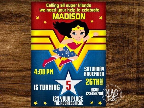 Wonder Woman Invitation Template Inspirational Wonder Woman Invitation Wonder Woman Party Invitation