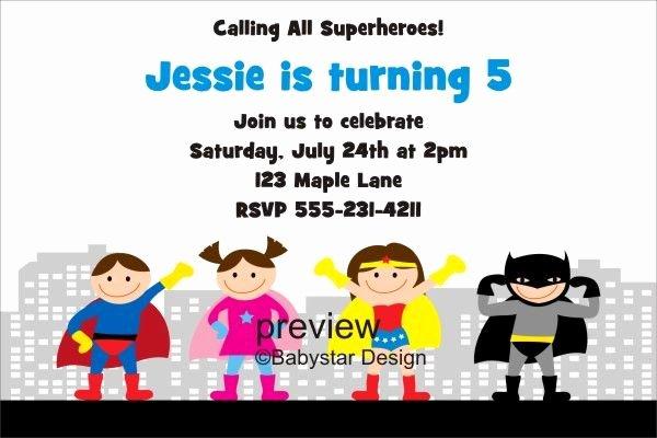 Wonder Woman Invitation Template Lovely Superhero Birthday Invitation 5 to Personalize
