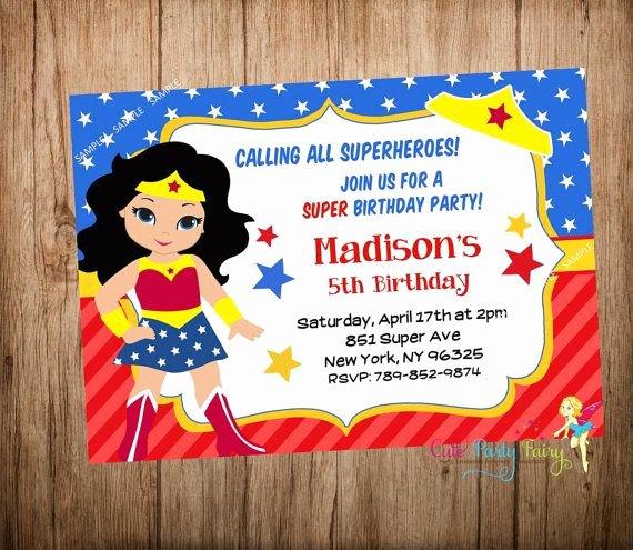 Wonder Woman Invitation Template New Wonder Woman Party Invitation Wonder Woman by