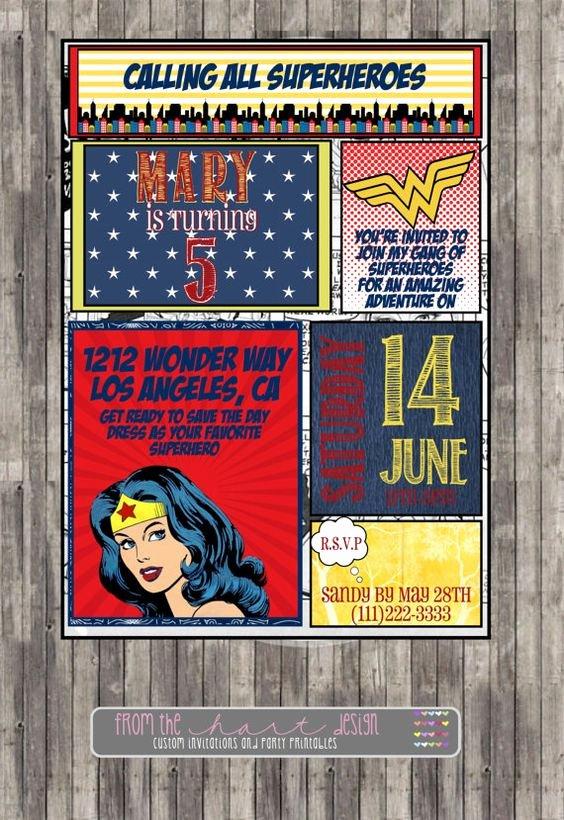 Wonder Woman Invitation Template Unique Superhero Wonder Woman Birthday Party Invitation Ic