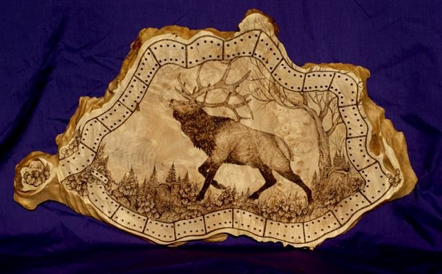 Wood Burning Art Patterns Beautiful [elk Pyrography Art On Cribbage Board]