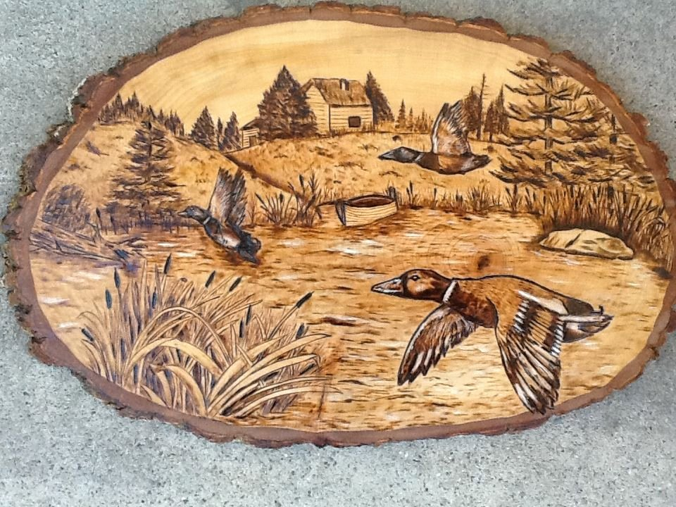 Wood Burning Art Patterns Luxury Duck Scene Pyroyankee