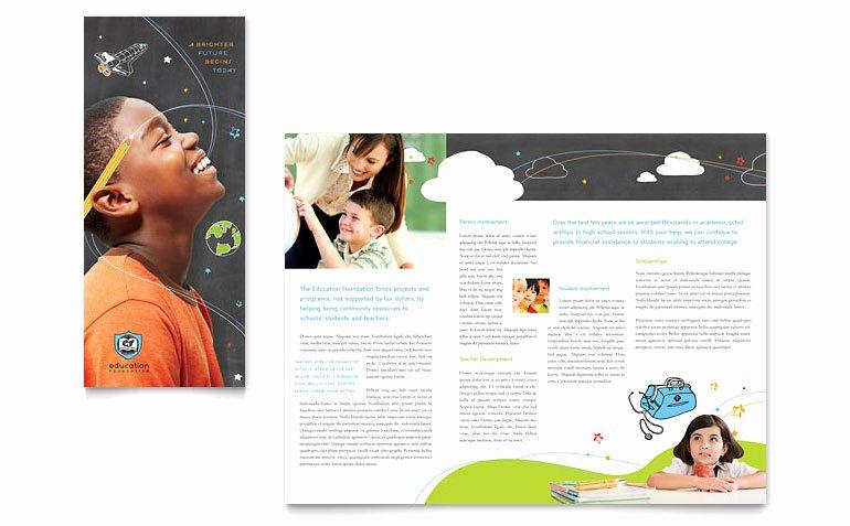 Word Brochure Template Tri Fold Beautiful Education Foundation & School Tri Fold Brochure Template