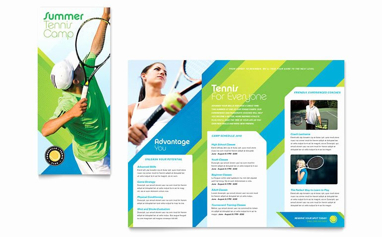 Word Brochure Template Tri Fold Lovely Tennis Club & Camp Tri Fold Brochure Template Word