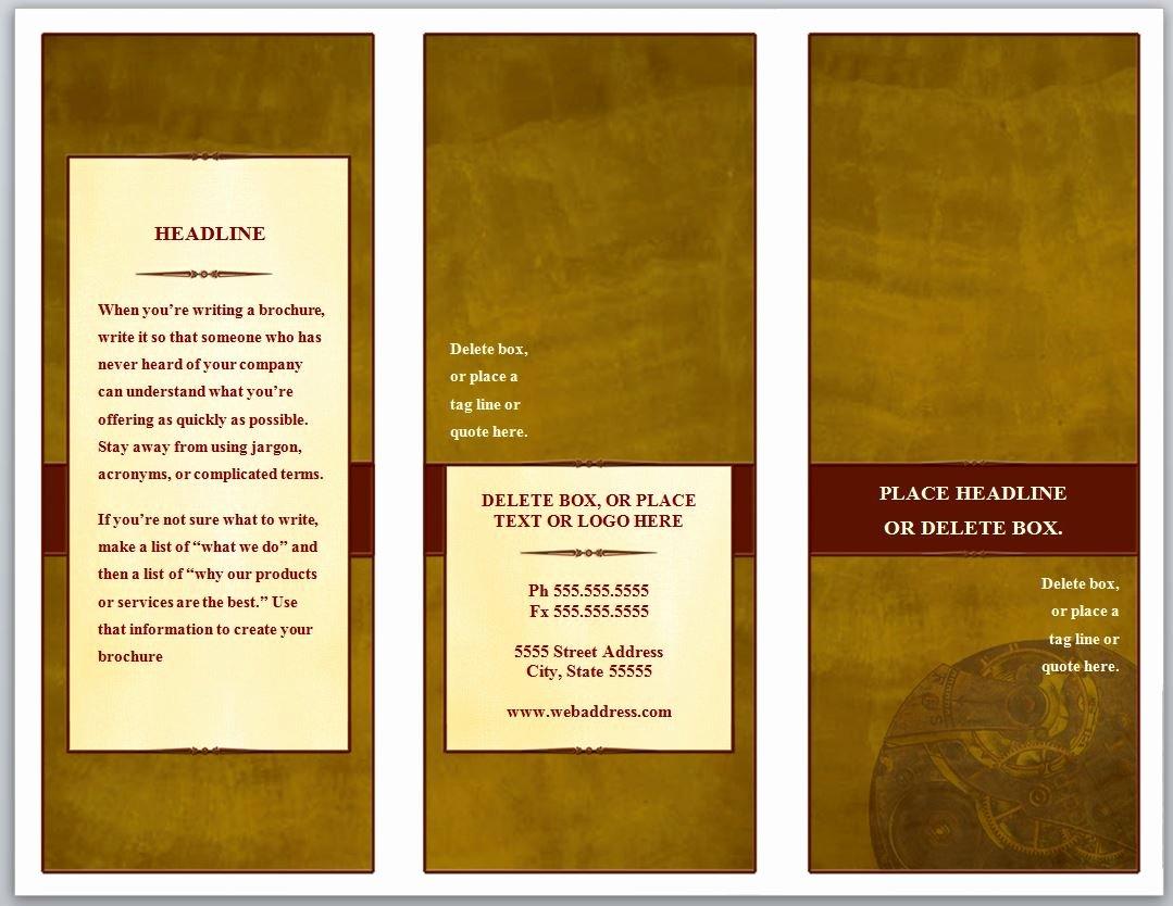 Word Brochure Template Tri Fold Lovely Tri Fold Brochure Template