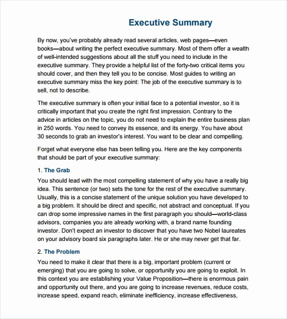 Word Executive Summary Template Awesome 43 Free Executive Summary Templates In Word Excel Pdf