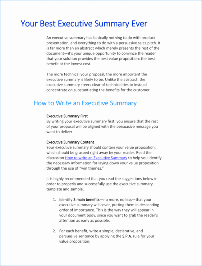 Word Executive Summary Template Luxury 5 Executive Summary Templates for Word Pdf and Ppt