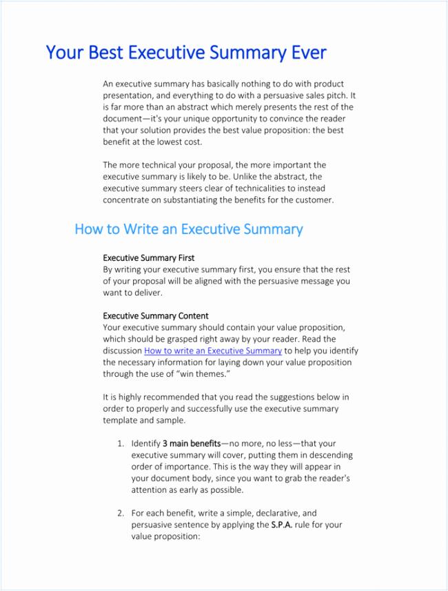 Word Executive Summary Template Luxury 5 Executive Summary Templates for Word Pdf and Ppt