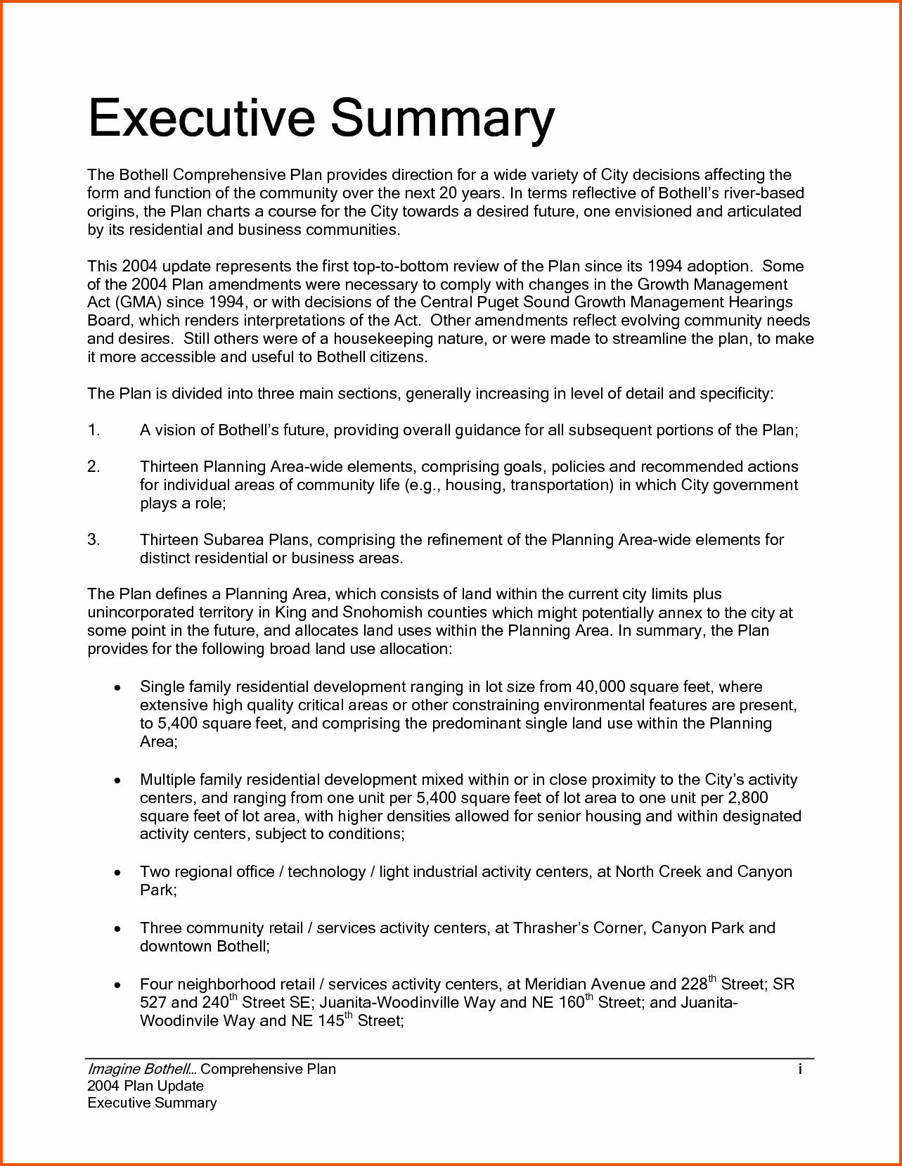 Word Executive Summary Template New 8 Executive Summary Template Word