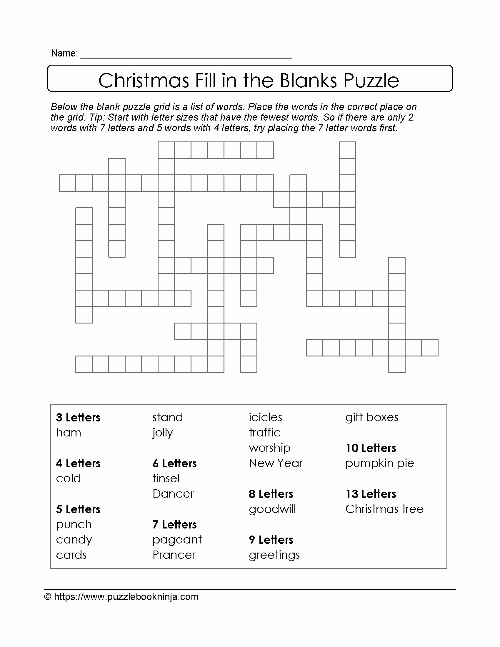 Word Fill In Puzzles Printable Luxury Freebie Xmas Puzzle to Print Fill In the Blanks Crossword