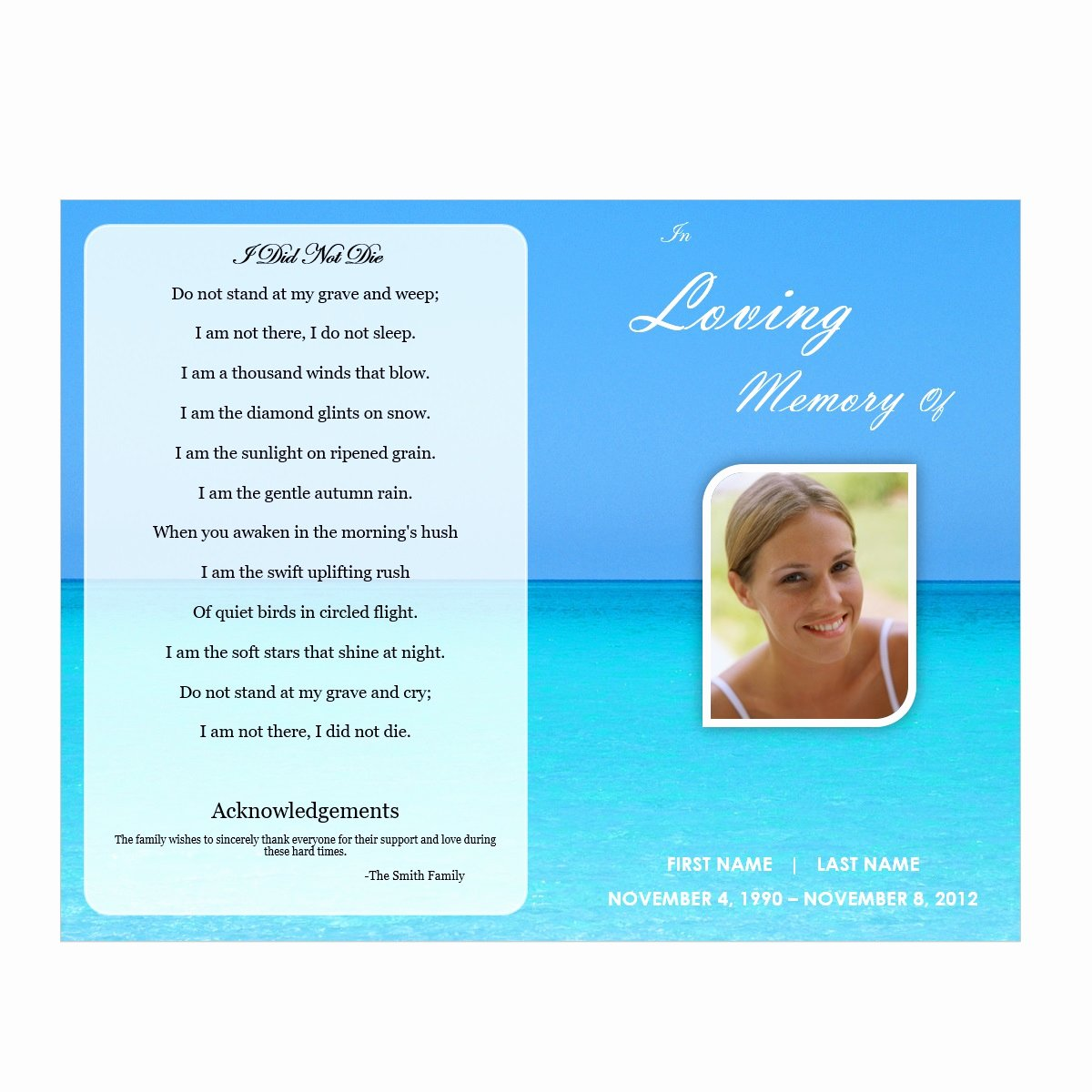 Word Funeral Program Template Beautiful Waterscape 5