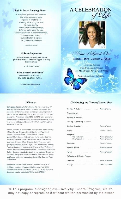 Word Funeral Program Template Inspirational butterfly Memorial Program Memorials Pinterest