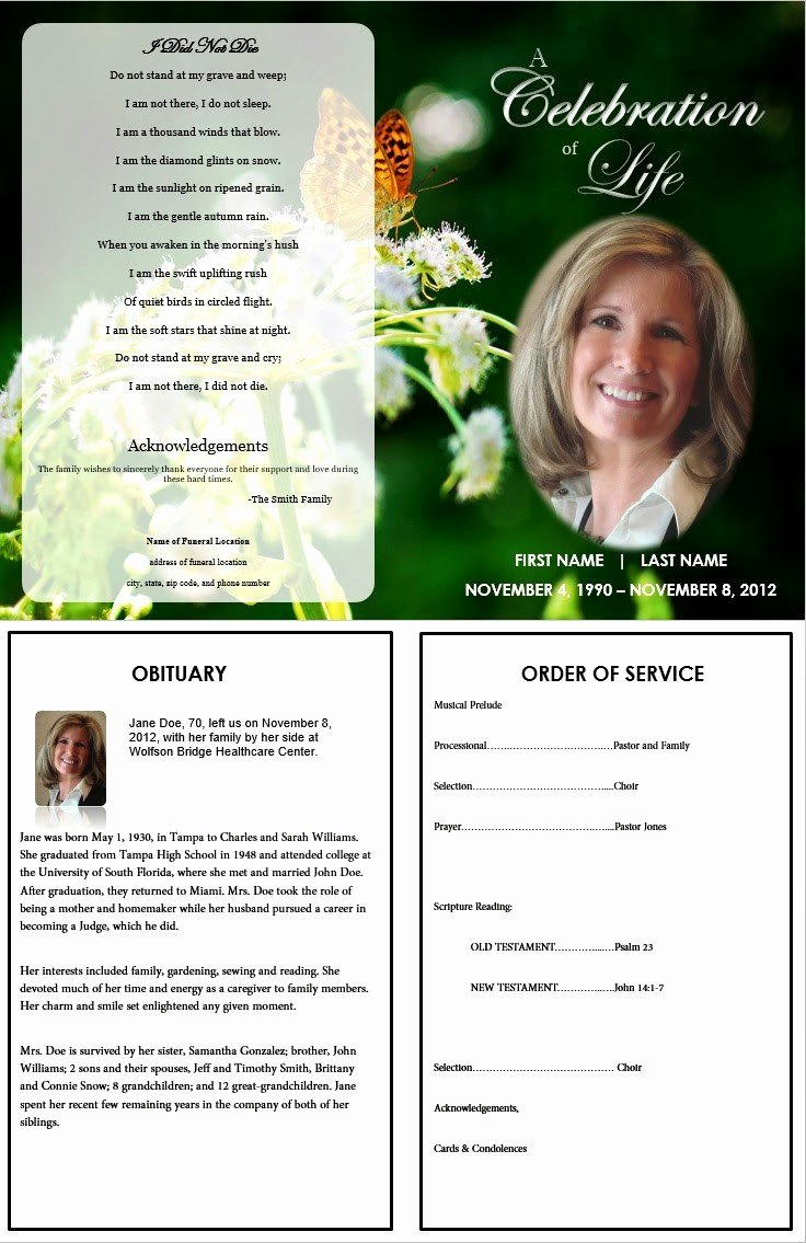 Word Funeral Program Template Luxury Free Funeral Program Templates for Word Pics – Funeral