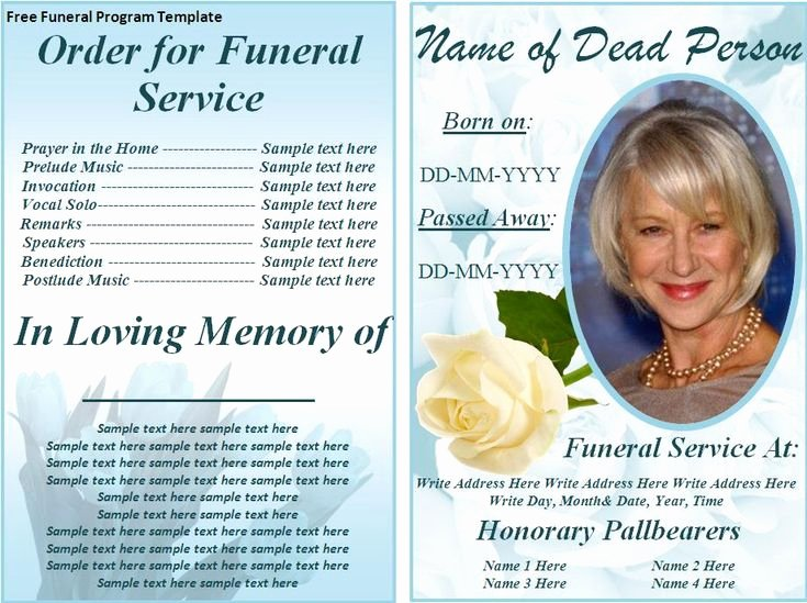 Word Funeral Program Template New Free Funeral Program Templates