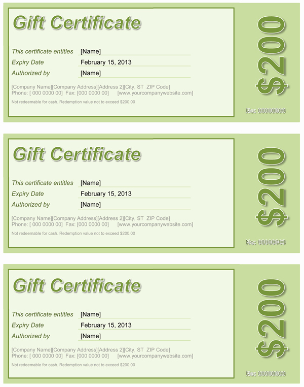 Word Gift Certificate Template New Gift Certificate