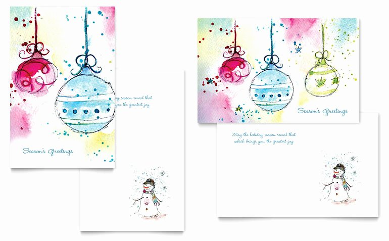 Word Templates for Cards Elegant Whimsical ornaments Greeting Card Template Word & Publisher