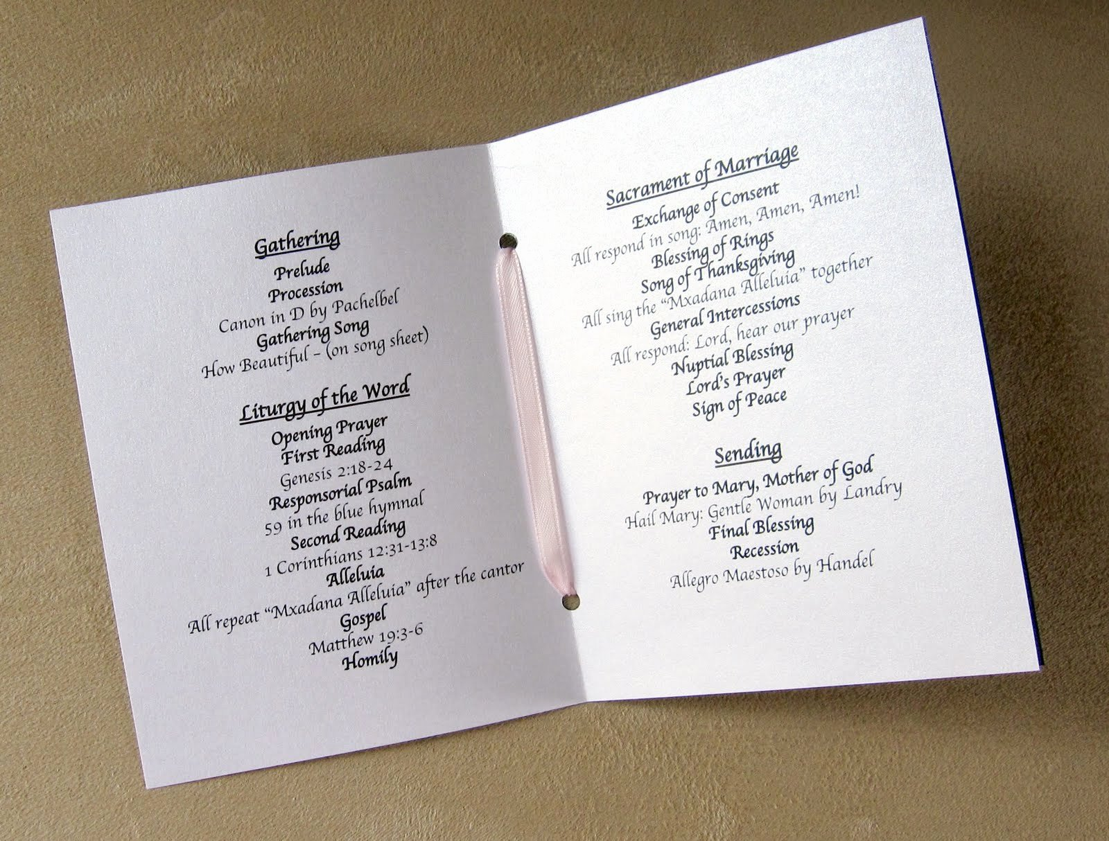 Wording for Funeral Programs Awesome Scrapping Innovations Sarah and Derrek Wedding Programs