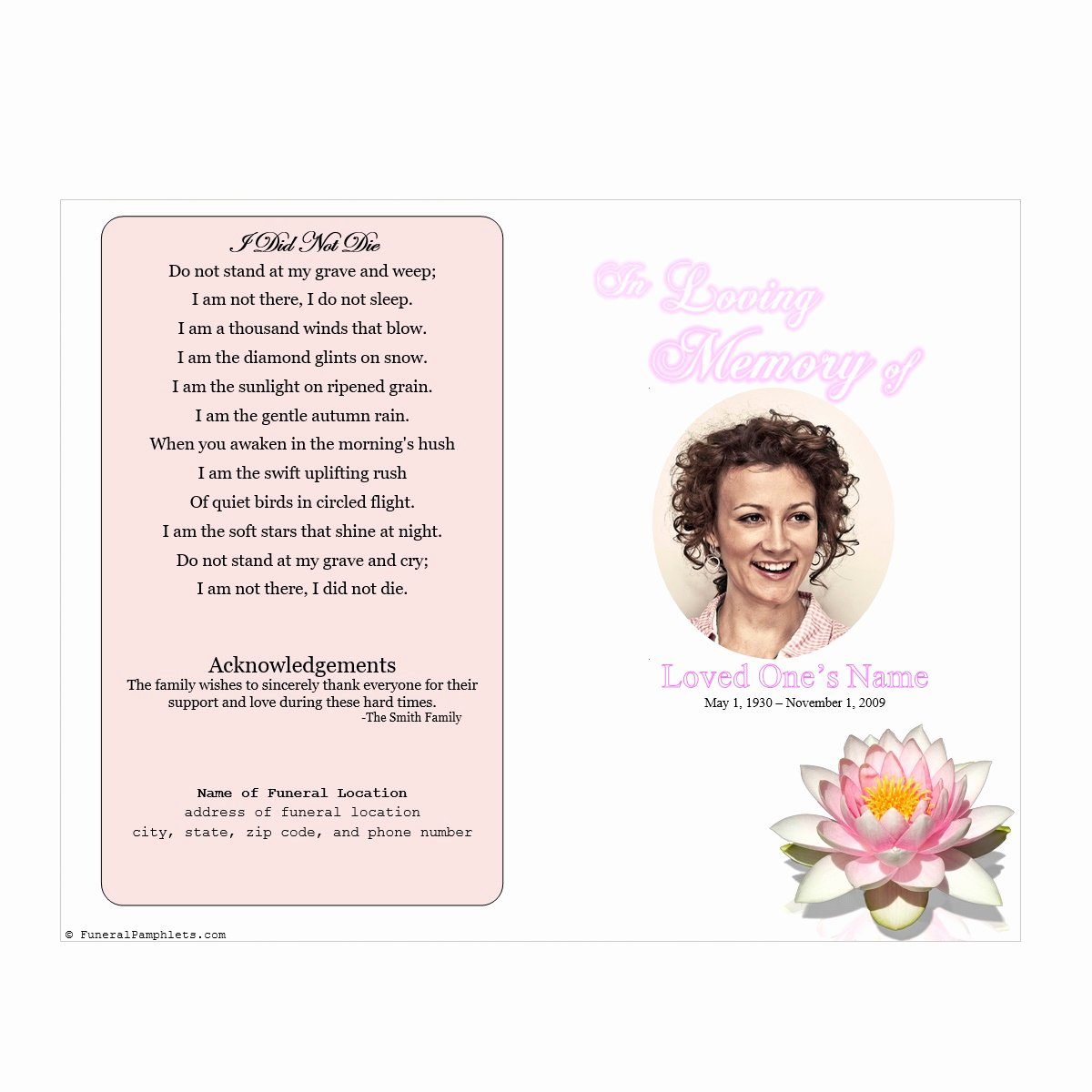 Wording for Funeral Programs Fresh Lily Single Fold Memorial Program Funeral Pamphlets