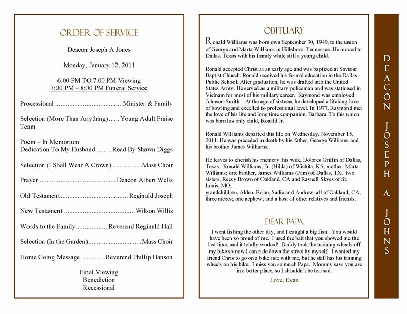 Wording for Funeral Programs Fresh Obituary Program Sample Obituary Template