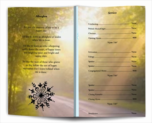 Wording for Funeral Programs Inspirational Funeral Program Wording Funeral Template