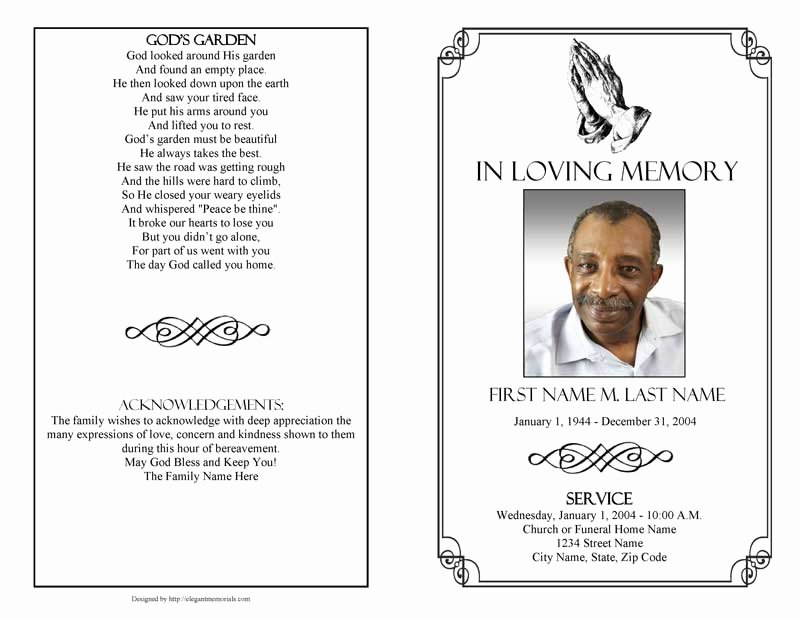 Wording for Funeral Programs Inspirational Praying Hands Funeral Program Template Elegant Memorials