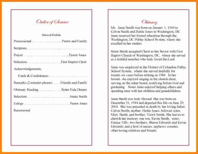 Wording for Funeral Programs Luxury 5 Funeral Program Wording