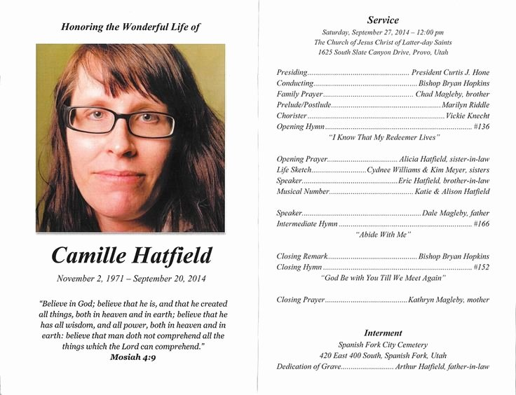 Wording for Funeral Programs Luxury Lds Funeral Program Examples Google Search