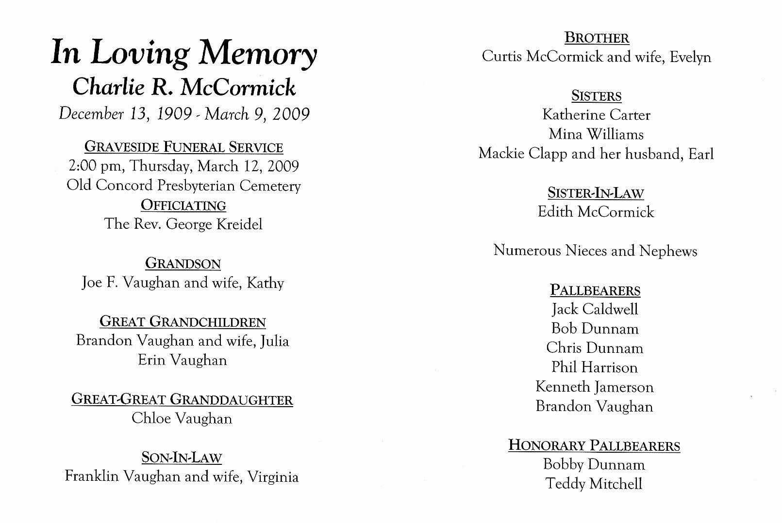 Wording for Funeral Programs Unique Sample Memorial Service Program Free Examples Programs