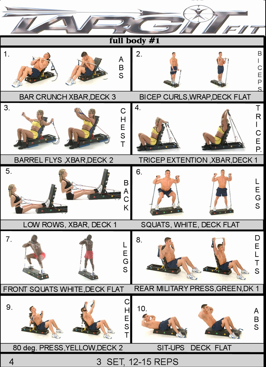 Work Out Chart Awesome Workout Charts for the Targitfit Portable Gym