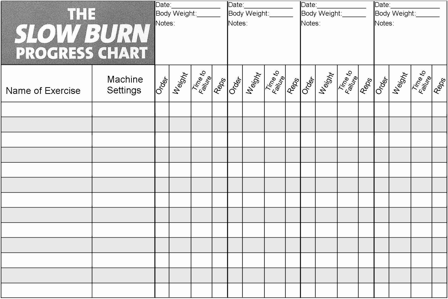 Work Out Chart Beautiful Slow Burn Workout Progress Chart