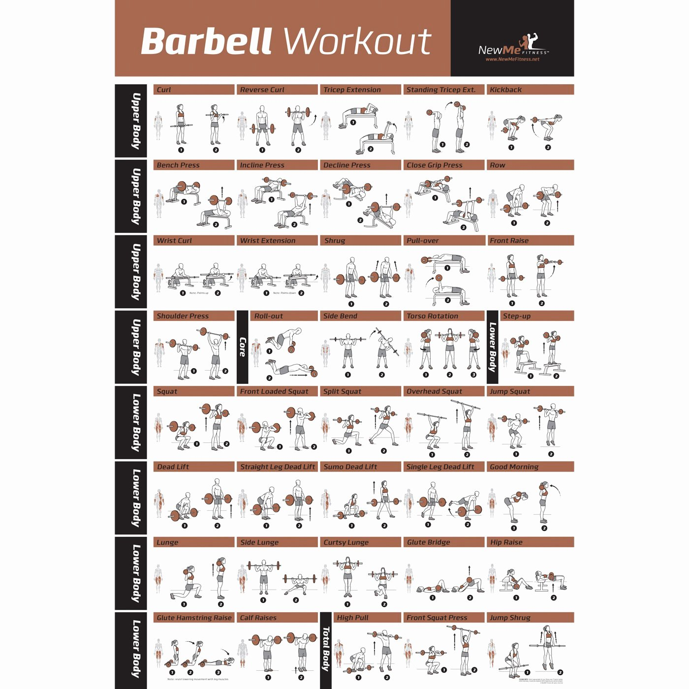 Work Out Chart New Barbell Workout Exercise Poster Laminated Home Gym