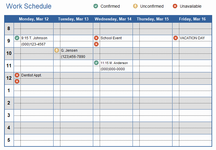 Work Plan Templates Excel Beautiful Work Schedule Template for Excel