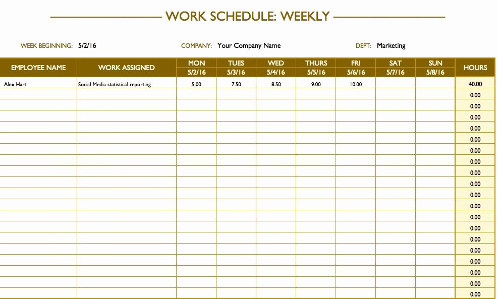 Work Plan Templates Excel Elegant Free Work Schedule Templates for Word and Excel