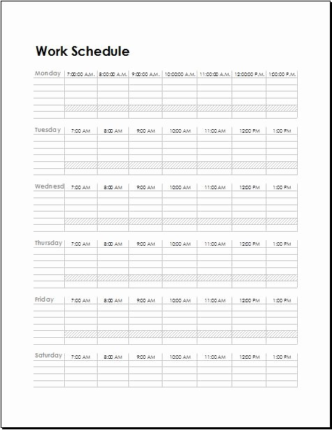 Work Plan Templates Excel Inspirational Work Schedule Templates for Employees