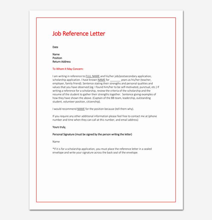 Work Reference Letter Sample Lovely Job Reference Letter 16 Samples & Examples