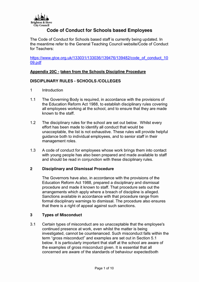 Workplace Code Of Conduct Template Elegant Code Of Conduct In Word and Pdf formats