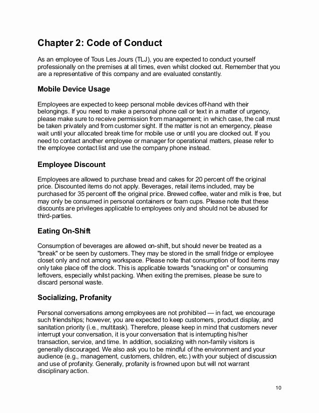 Workplace Code Of Conduct Template Lovely tous Les Jours Employee Handbook Updated