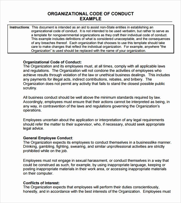 Workplace Code Of Conduct Template Unique Sample Code Of Conduct 5 Documents In Pdf