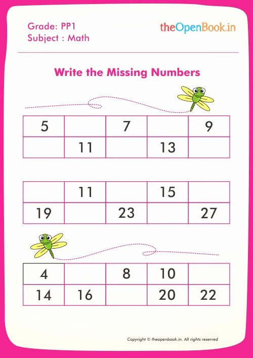 Write the Missing Number Awesome Printable Worksheets for Kids Cbse