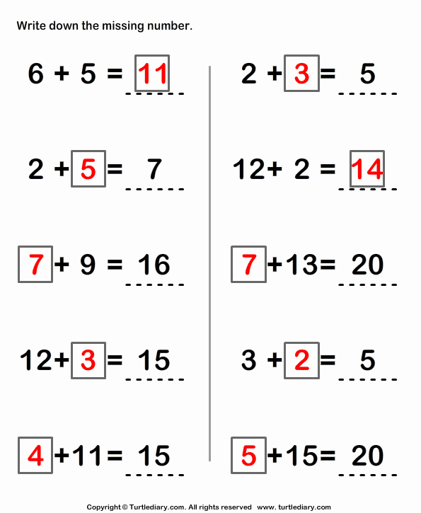 Write the Missing Number Awesome Write Missing Numbers In Addition Sentence Worksheet