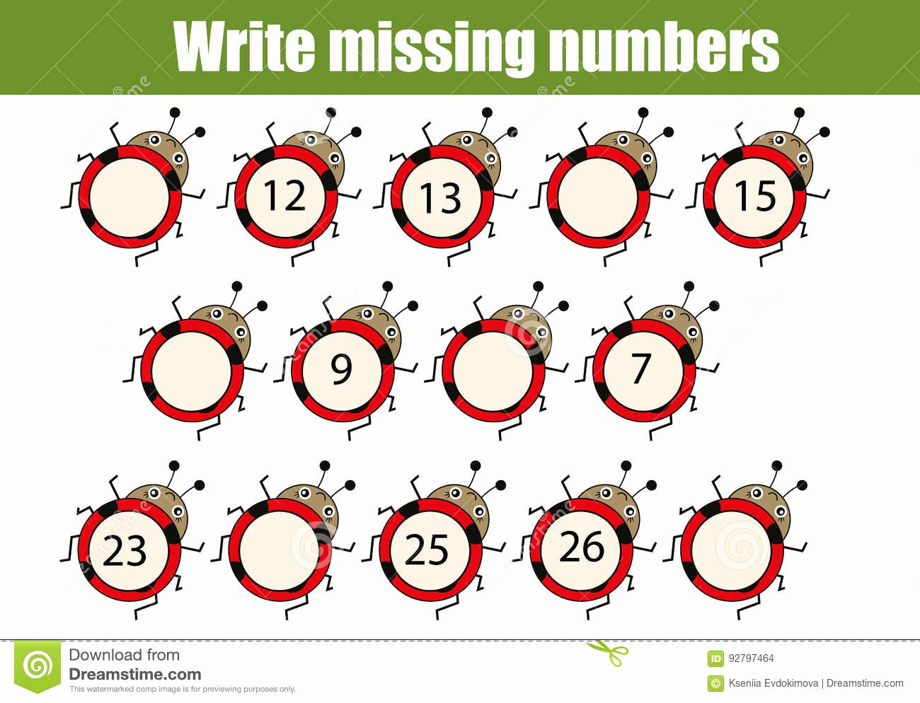 Write the Missing Number Inspirational Mathematics Educational Game for Children Write the