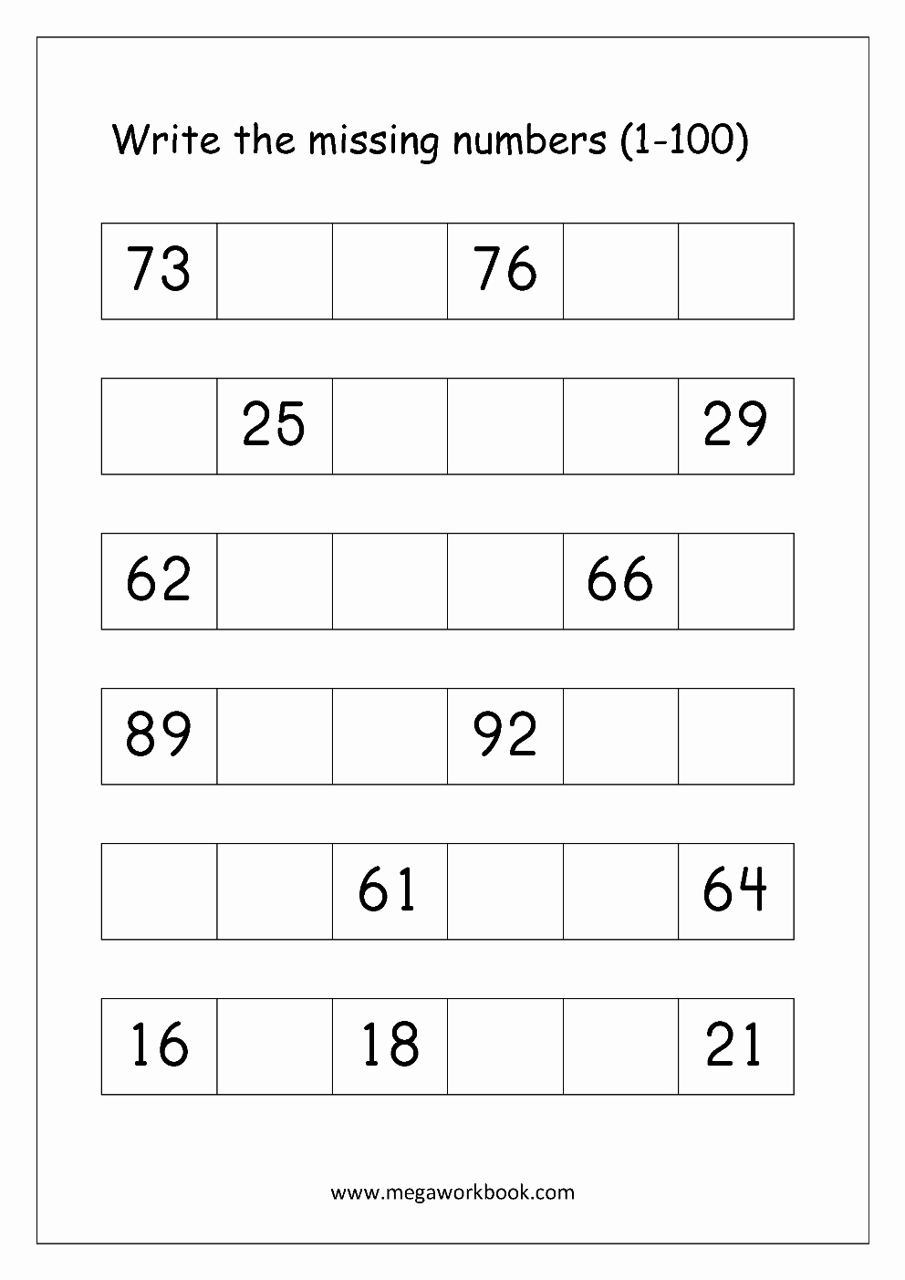 Write the Missing Number Inspirational ordering Numbers Worksheets Missing Numbers What Es