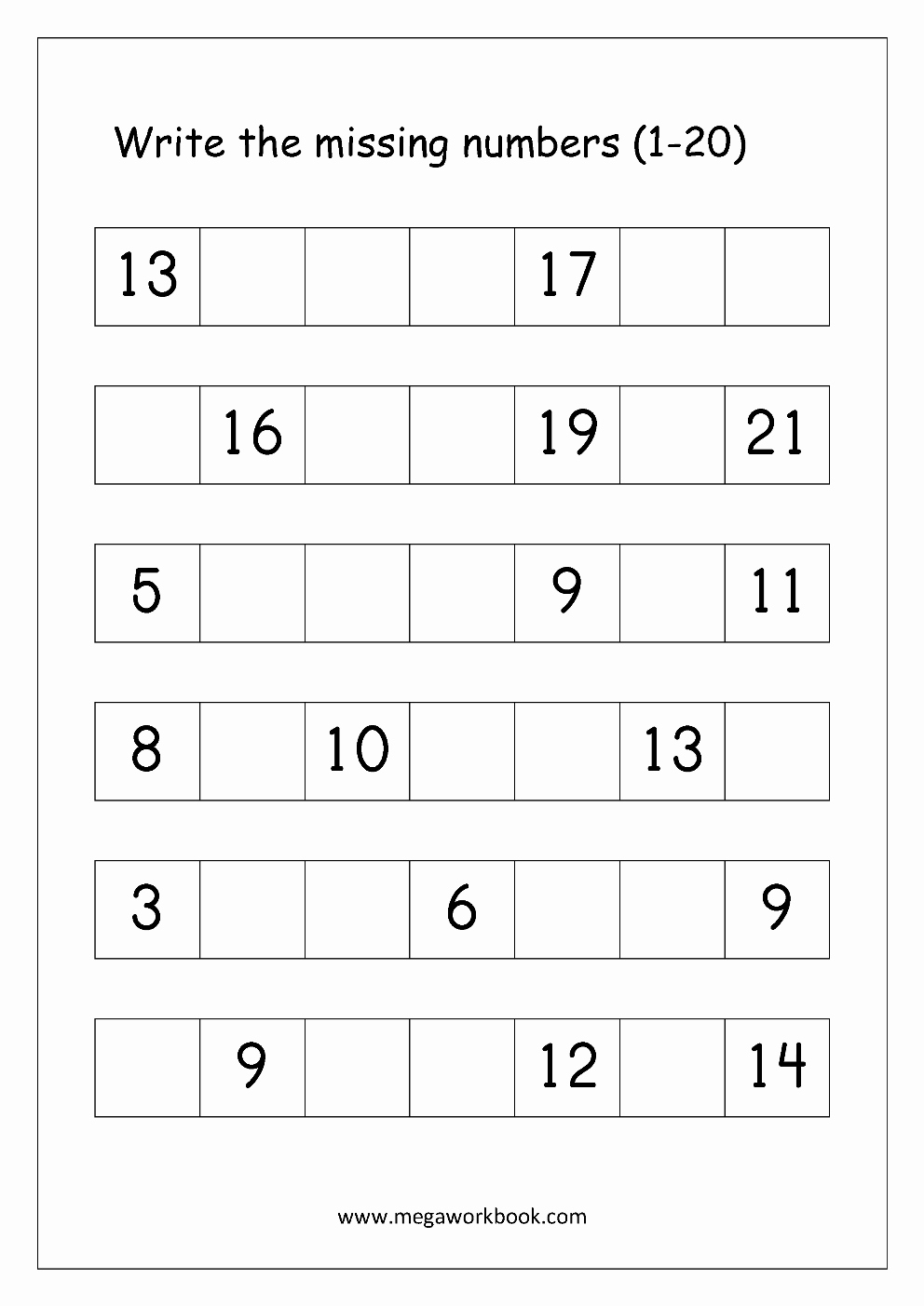 Write the Missing Number Lovely ordering Numbers Worksheets Missing Numbers What Es