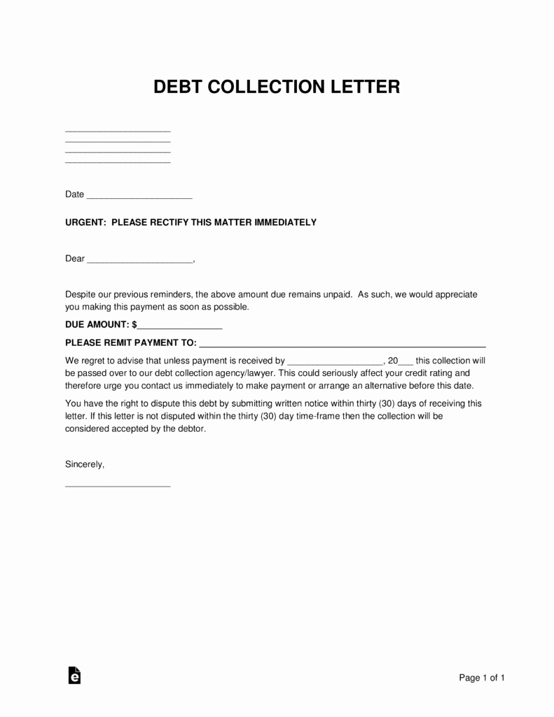 Writing A Collection Letter Beautiful Free Debt Collections Letter Template Word