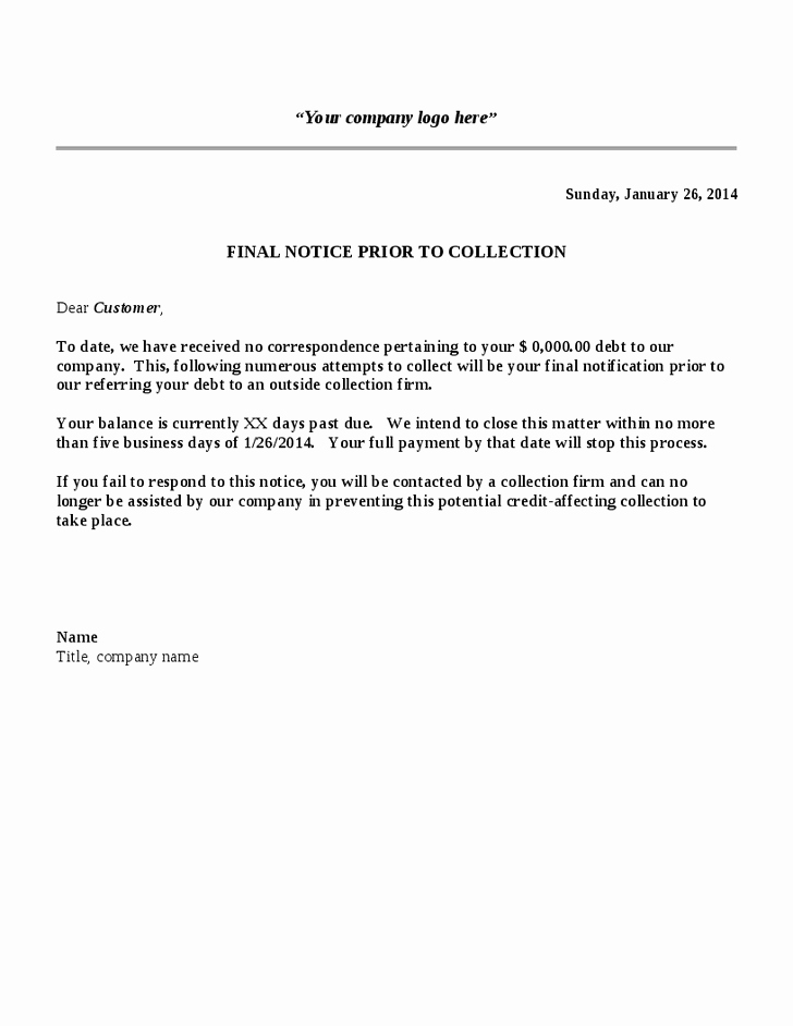 Writing A Collection Letter New Notice Template Category Page 1 Efoza