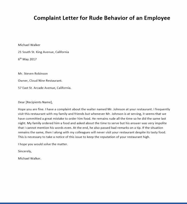 Writing A Complaint Letter Awesome 2 Sample Plaint Letters for Rude Behavior Writing